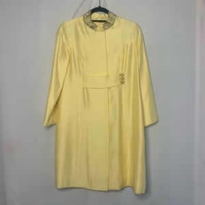 Vintage yellow raw silk jacket dress 1960s